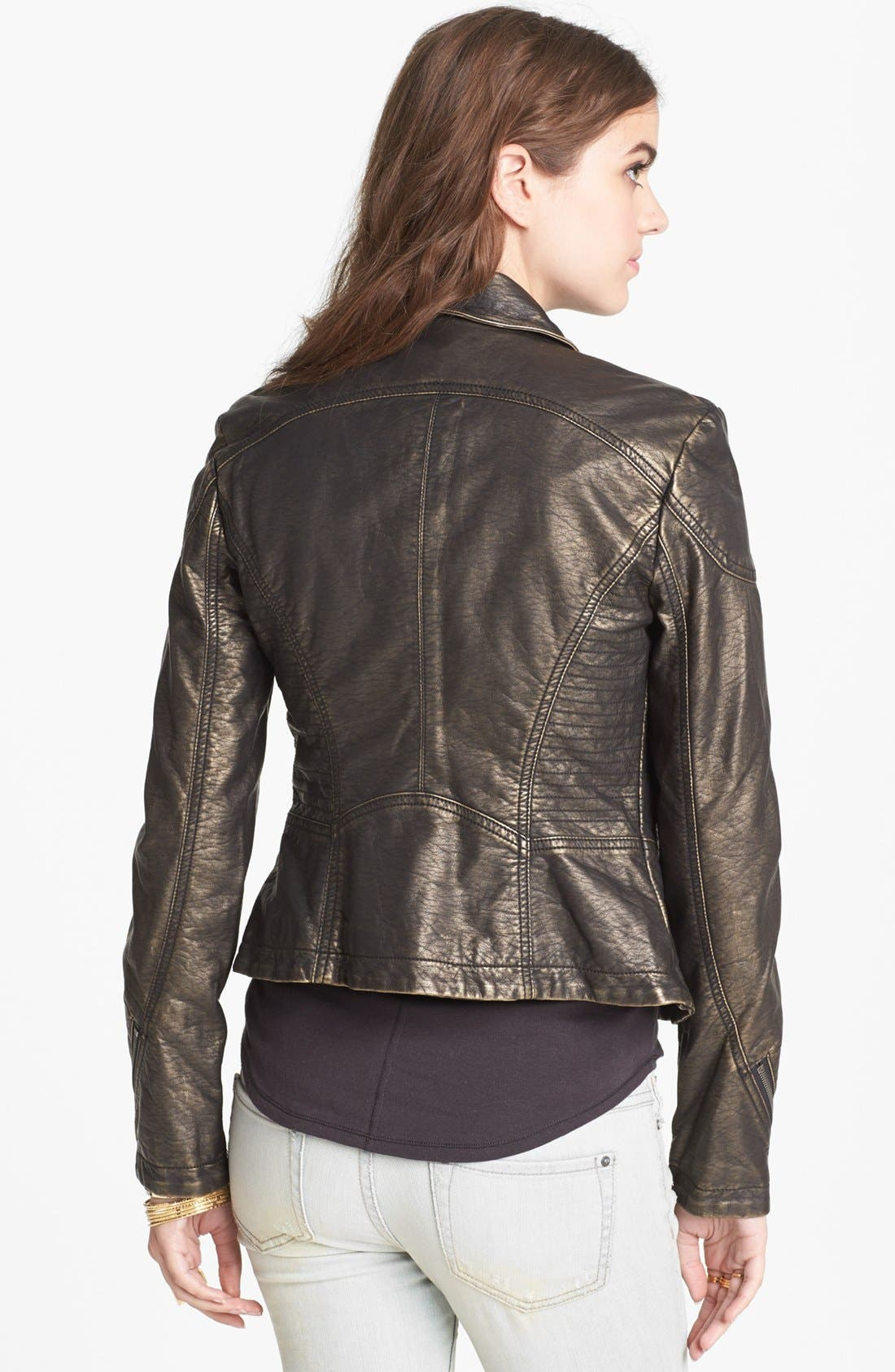 Alternate Image 2  - Free People Metallic Faux Leather Jacket