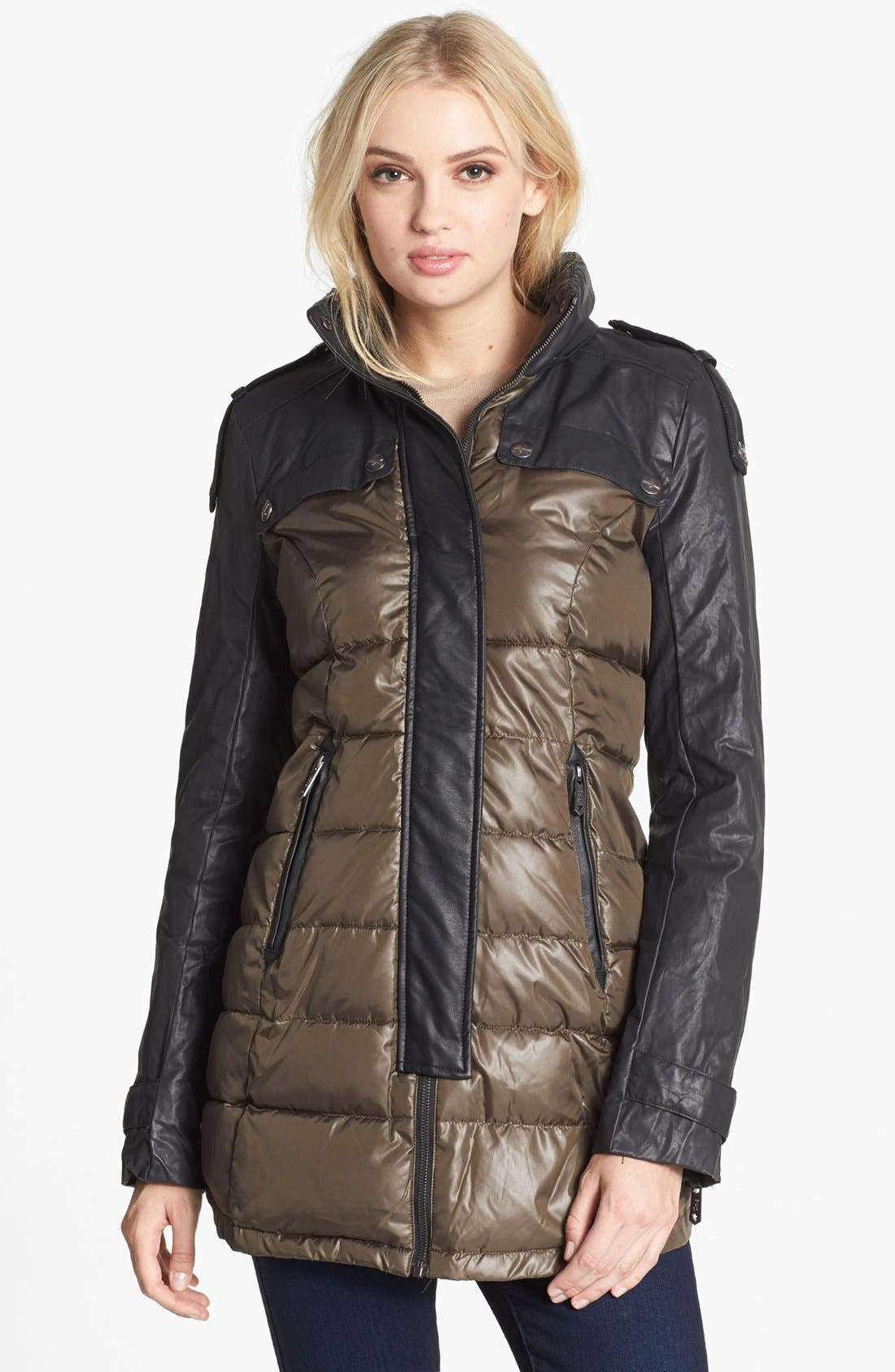 Alternate Image 4  - Circus by Sam Edelman Faux Leather Sleeve Quilted Coat