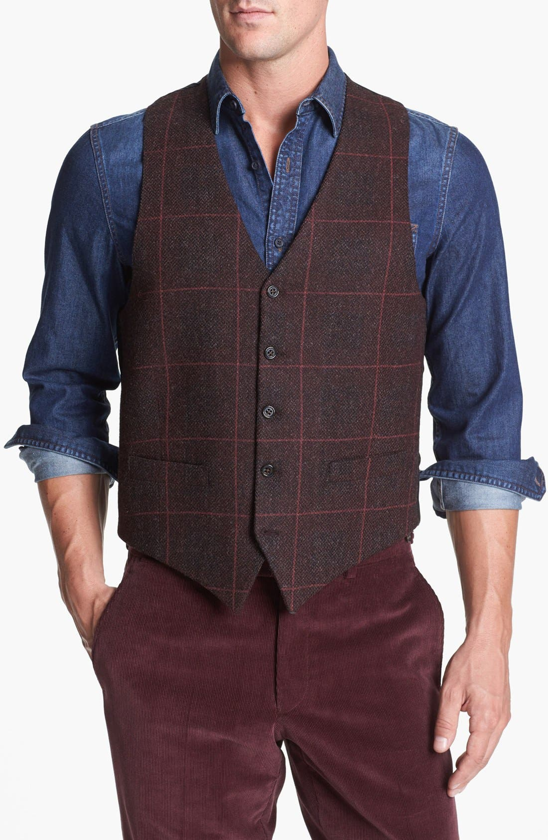 Main Image - Gitman Plaid Wool Vest