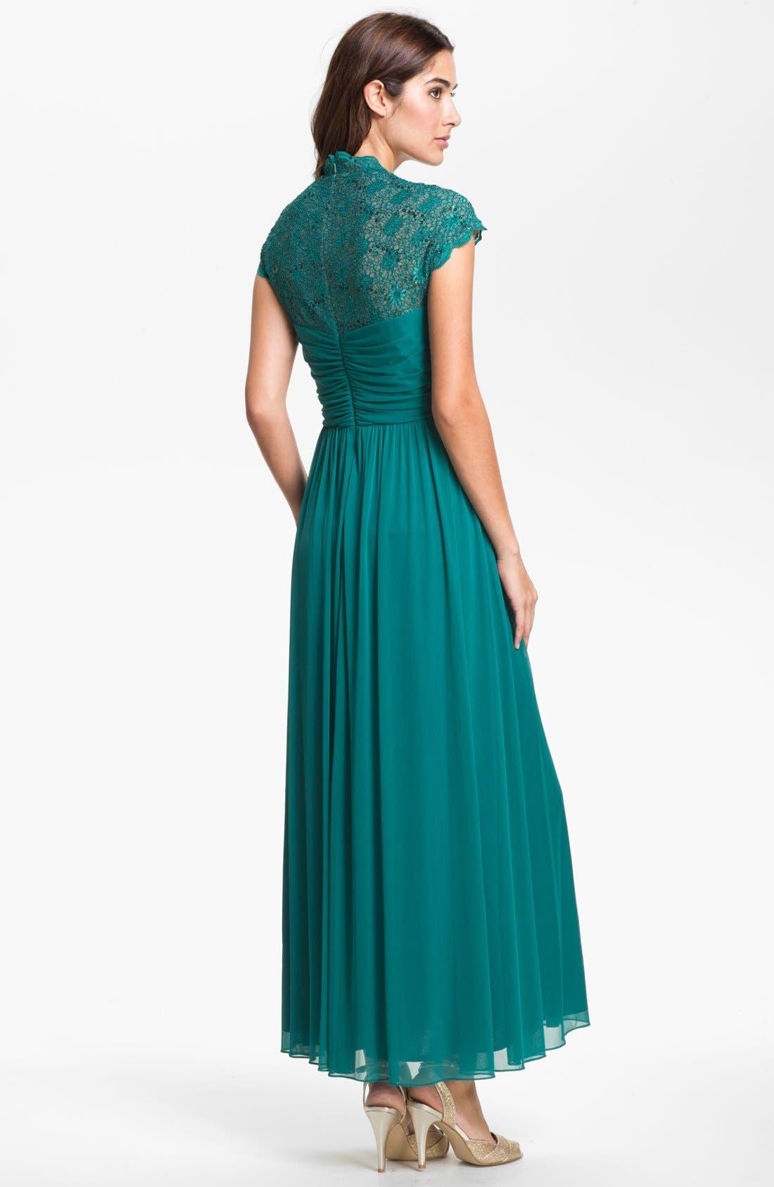 Alternate Image 3  - Alex Evenings Lace Appliqué & Pleated Mesh Gown (Petite)