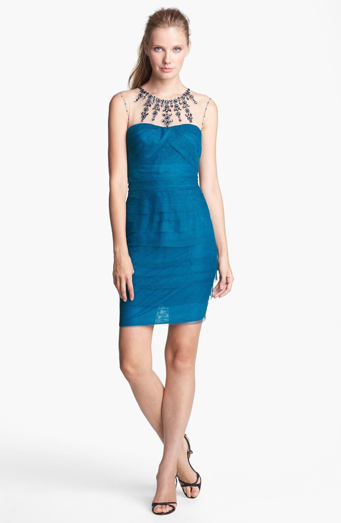 Alternate Image 2  - Adrianna Papell Embellished Tiered Mesh Sheath Dress