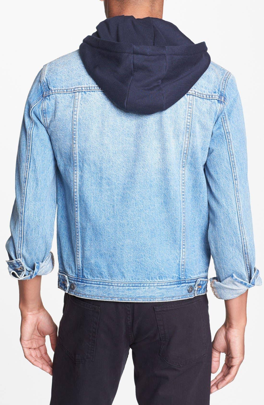Alternate Image 2  - Topman Hooded Denim Jacket