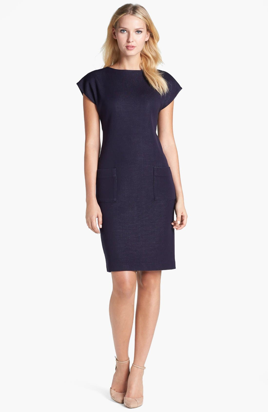 Alternate Image 1 Selected - Exclusively Misook 'Ina' Cap Sleeve Knit Dress