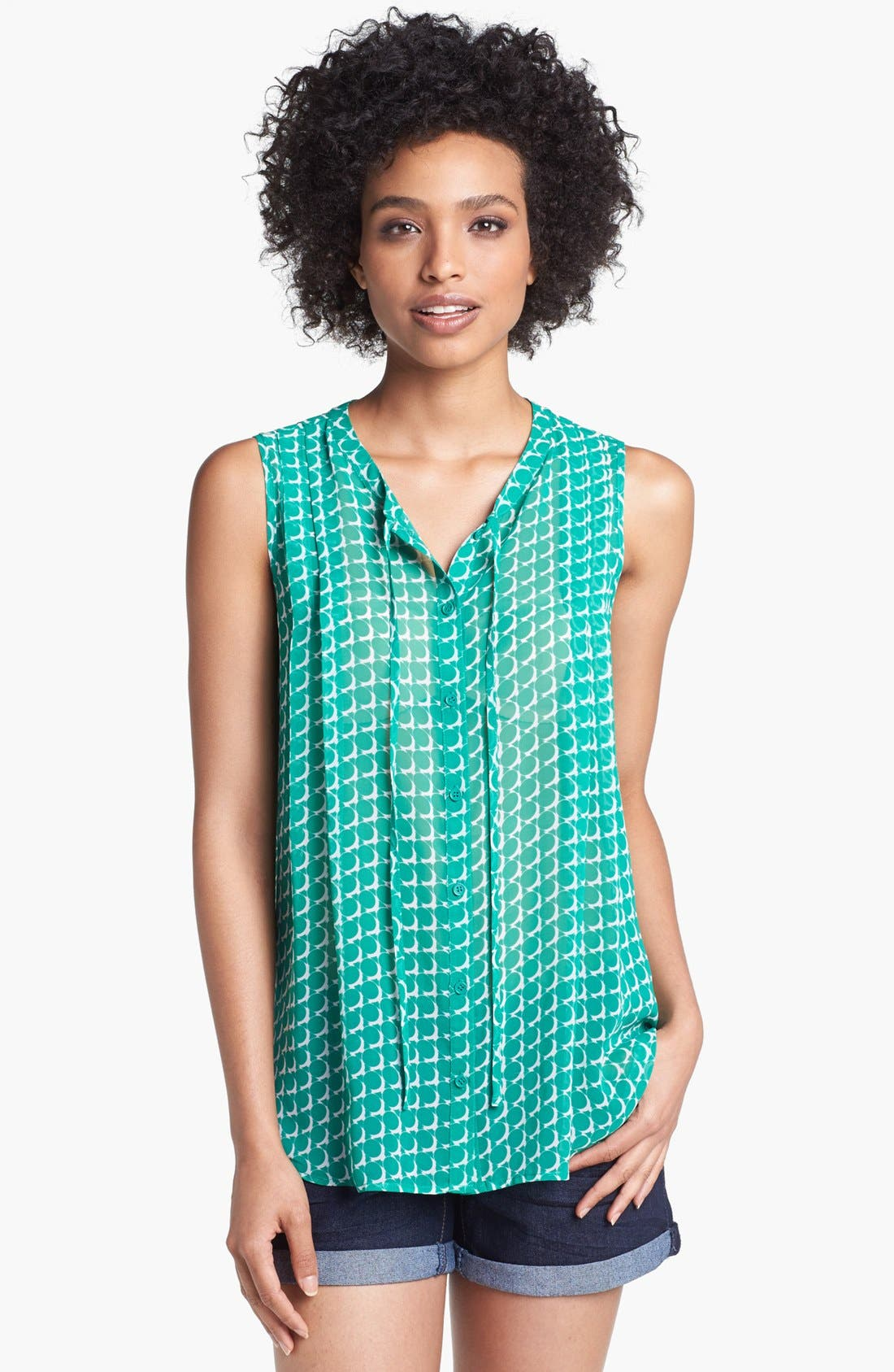 Alternate Image 1 Selected - Pleione Button Front Print Woven Tank