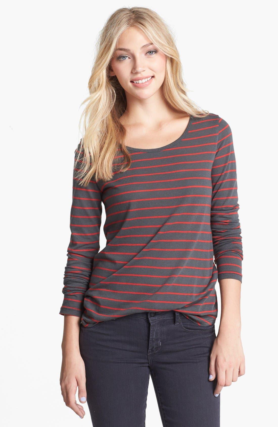 Alternate Image 1 Selected - BP. Stripe Long Sleeve Tee (Juniors)