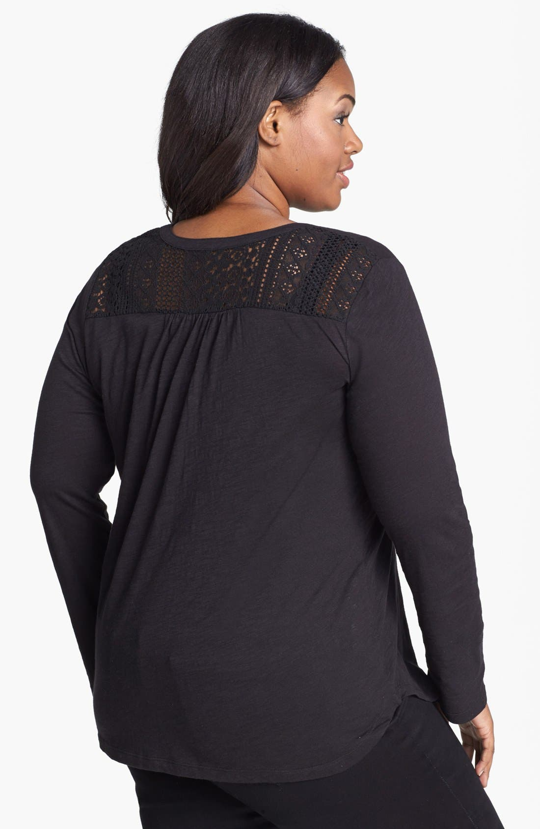 Alternate Image 2  - Lucky Brand Lace Tuxedo Bib Top (Plus Size)