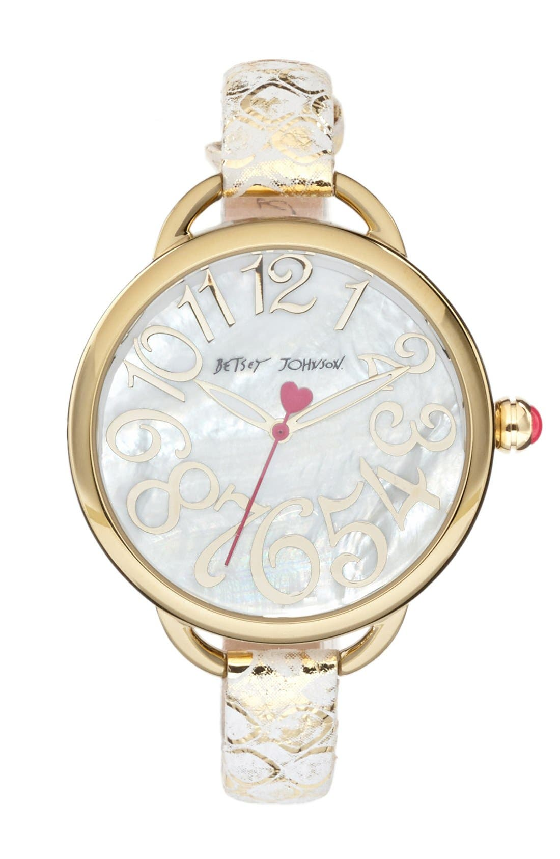 Main Image - Betsey Johnson Round Metallic Leather Strap Watch, 39mm