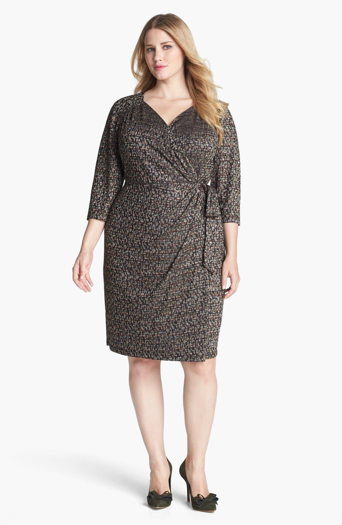 Main Image - Ivy & Blu Textured Faux Wrap Dress (Plus Size)