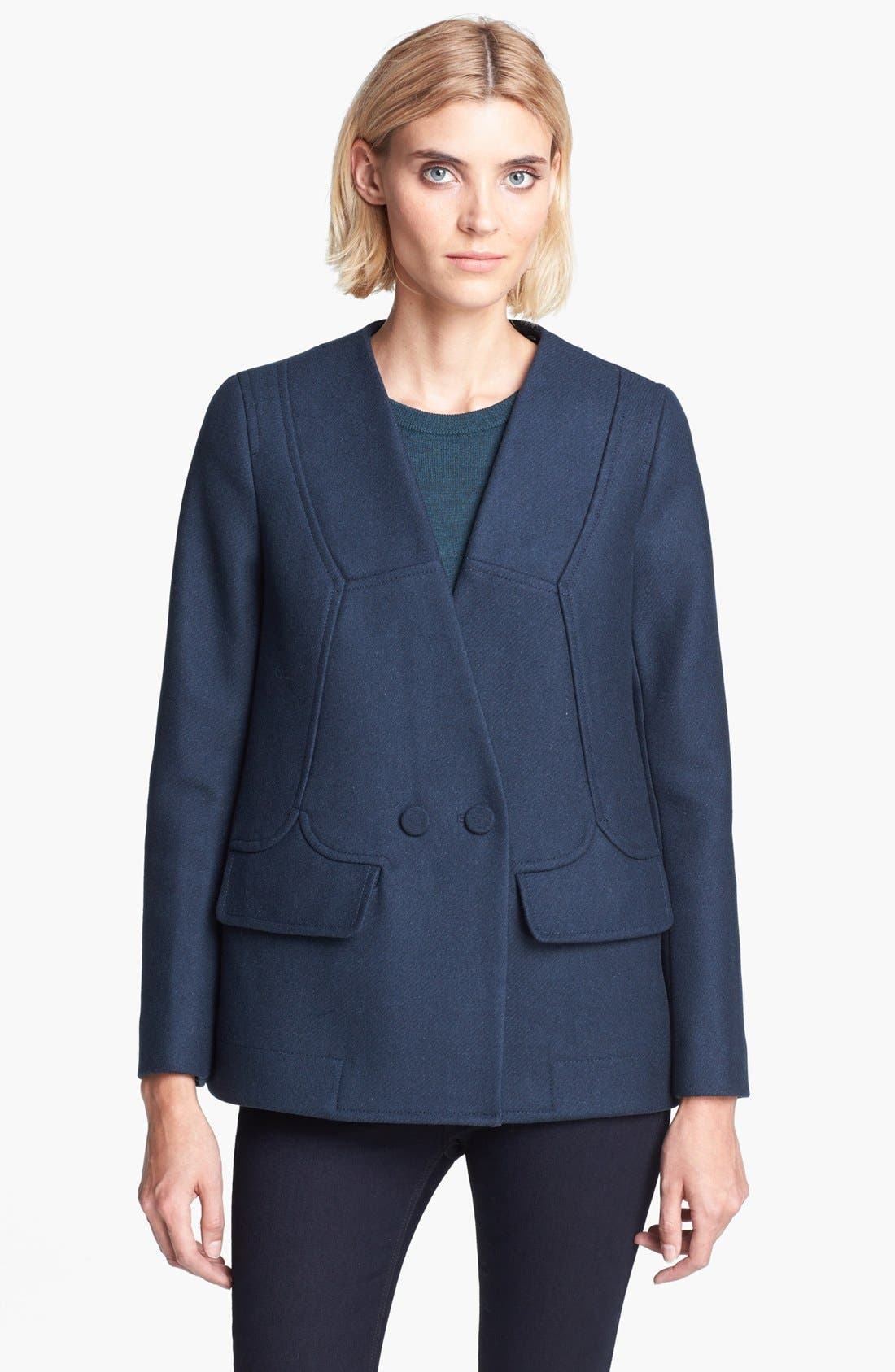 Alternate Image 2  - Carven Double Breasted Coat with Removable Faux Fur Collar