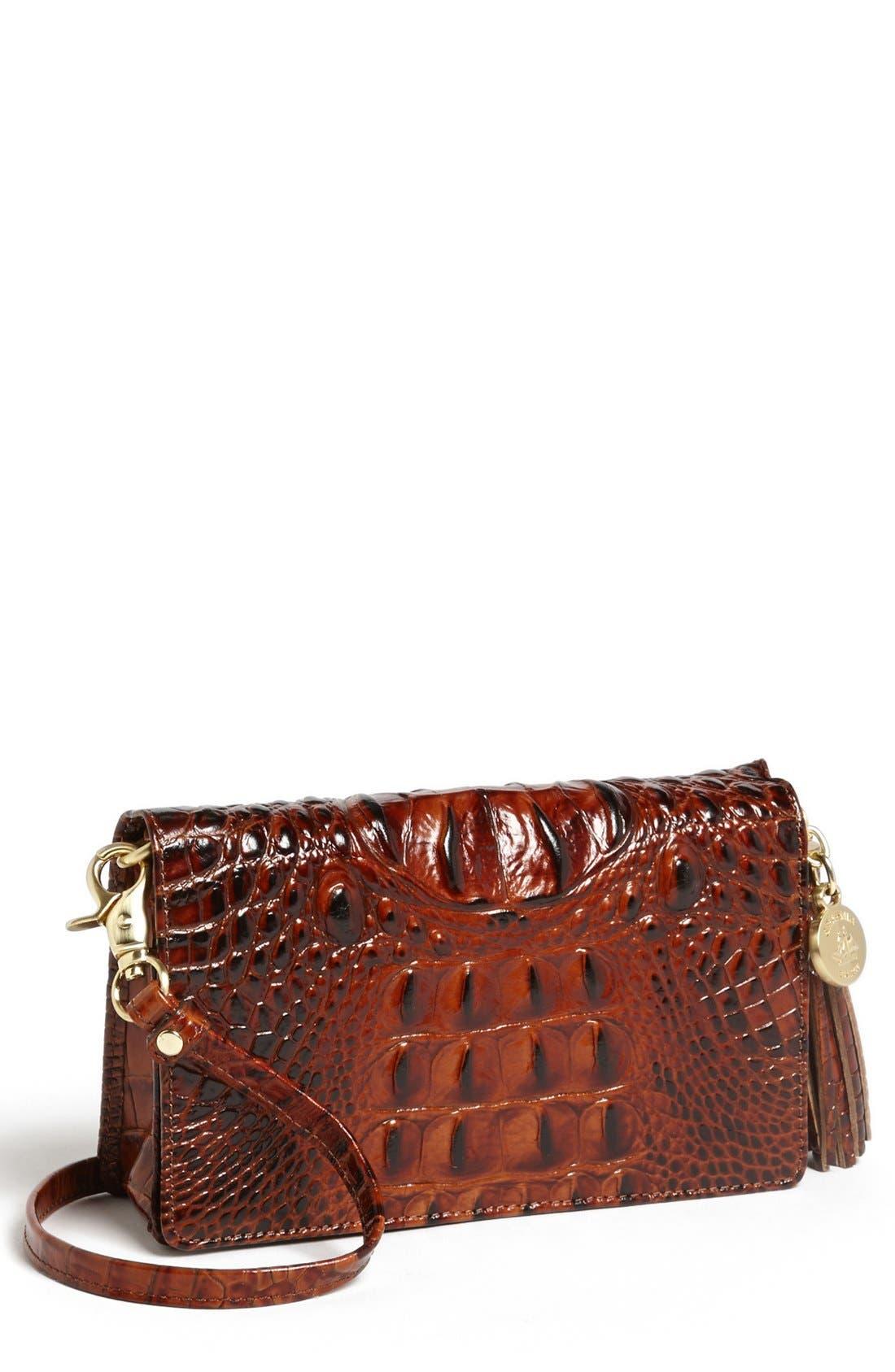 Main Image - Brahmin 'Melbourne - Amelia' Croc Embossed Leather Crossbody Clutch
