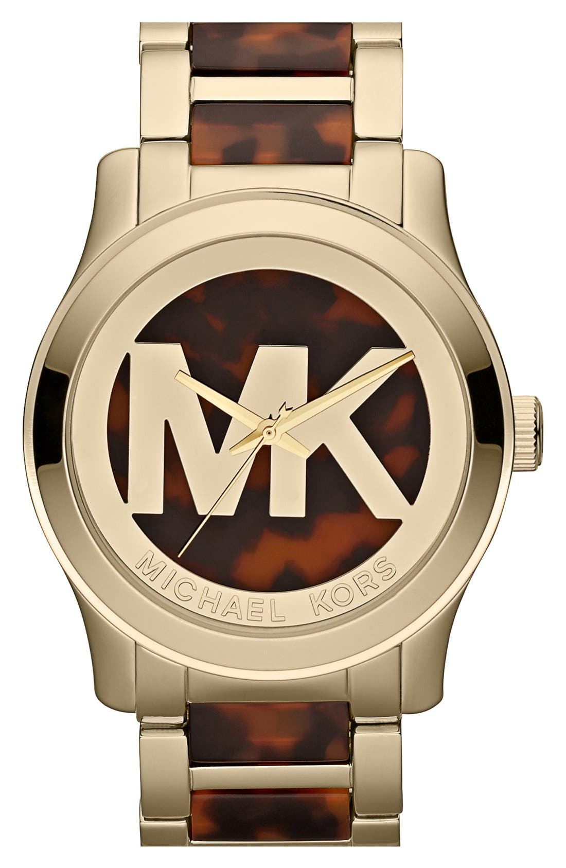 Alternate Image 1 Selected - Michael Kors 'Runway' Logo Dial Bracelet Watch, 45mm