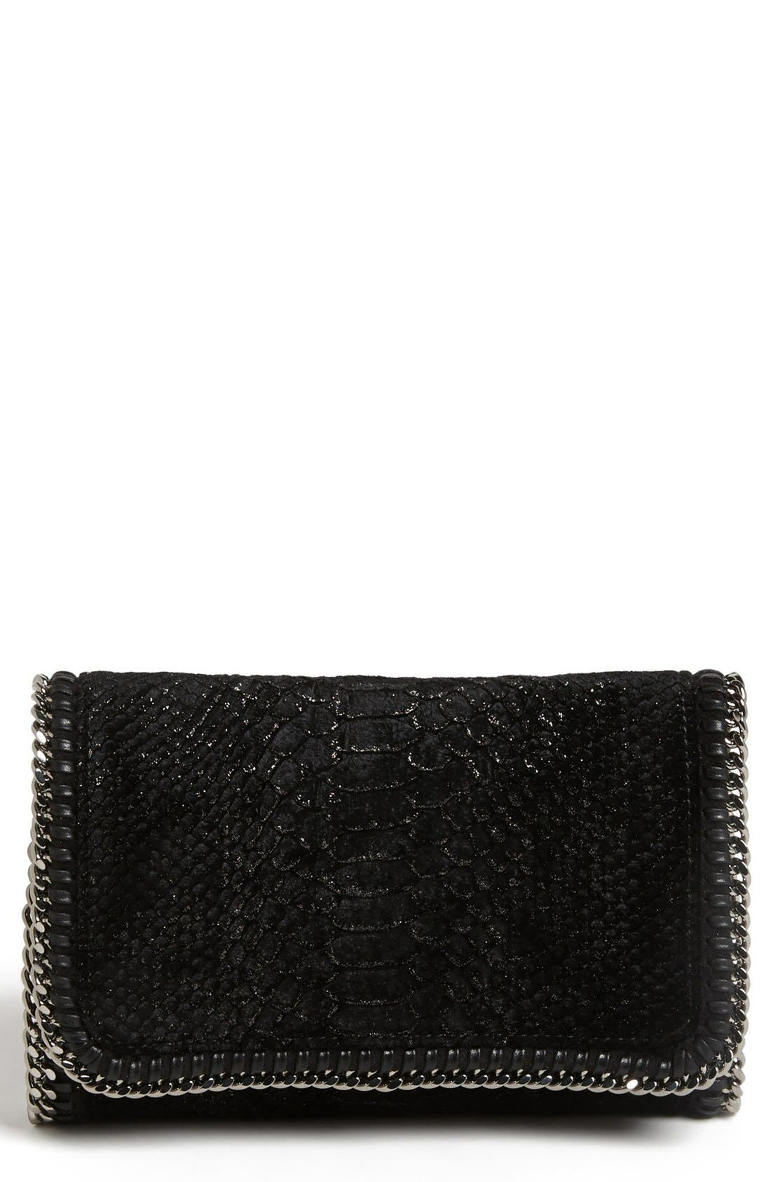 Alternate Image 1 Selected - Stella McCartney 'Falabella' Velvet Crossbody Clutch