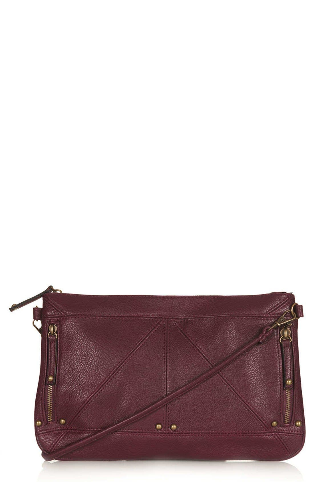 Main Image - Topshop Studded Zip Clutch
