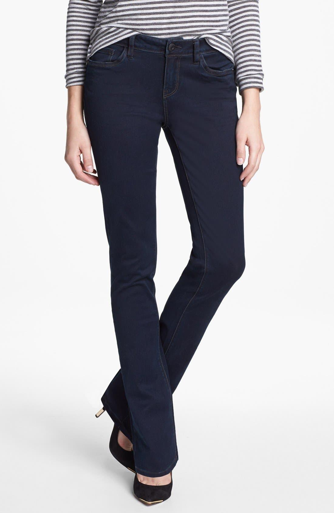 Main Image - kensie Skinny Bootcut Jeans (Black Metal)