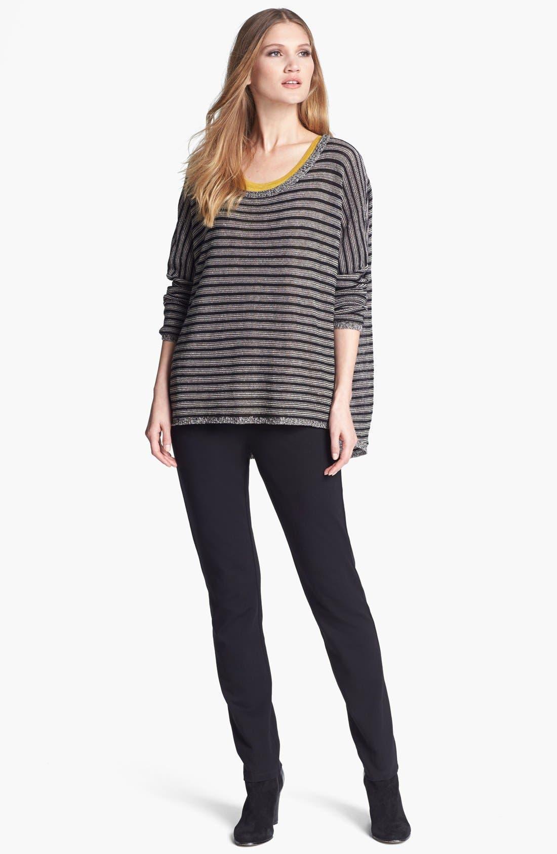 Alternate Image 4  - Eileen Fisher Wool & Linen Stripe Bateau Neck Sweater