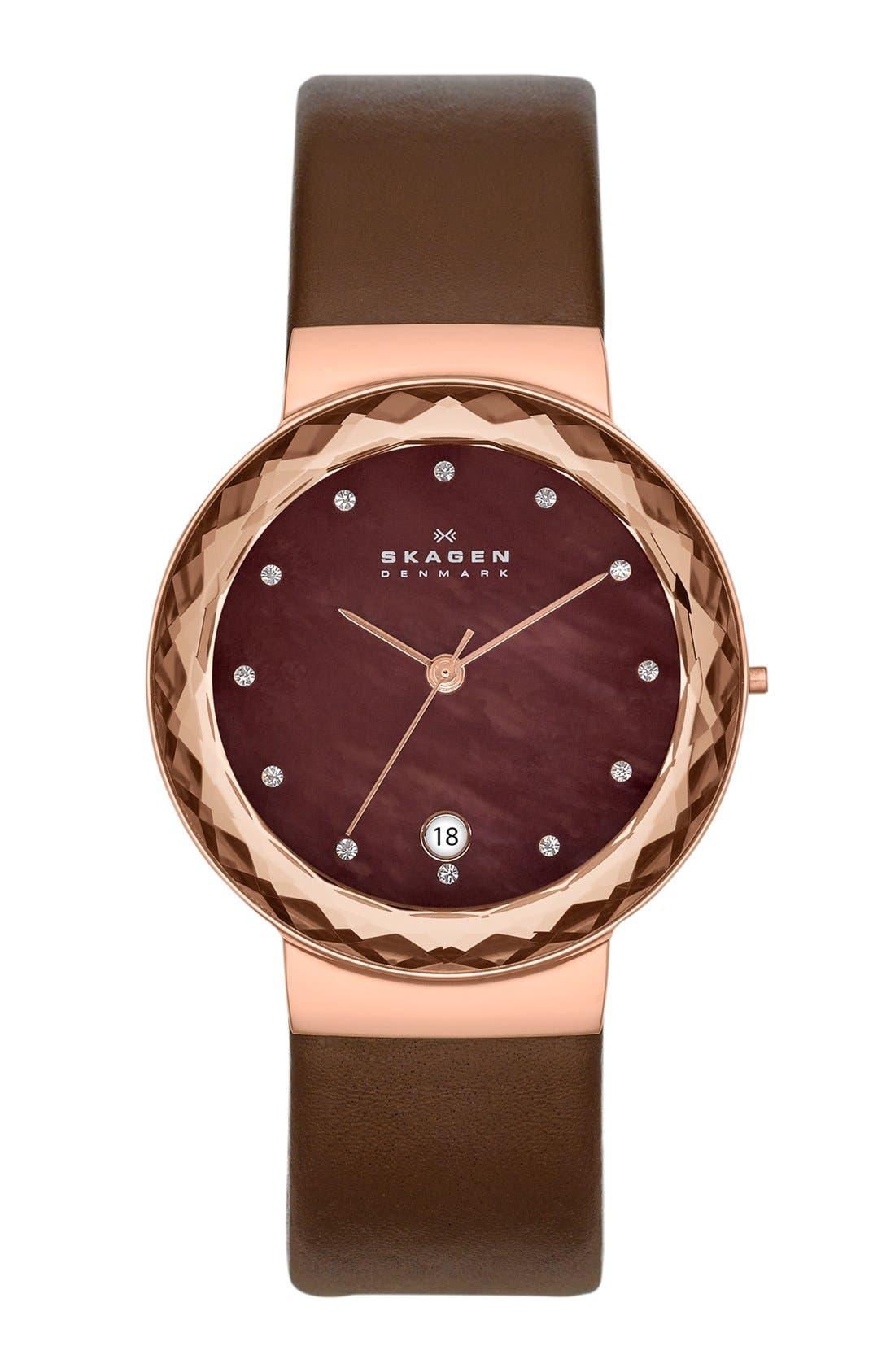 Main Image - Skagen Faceted Bezel Leather Strap Watch, 35mm