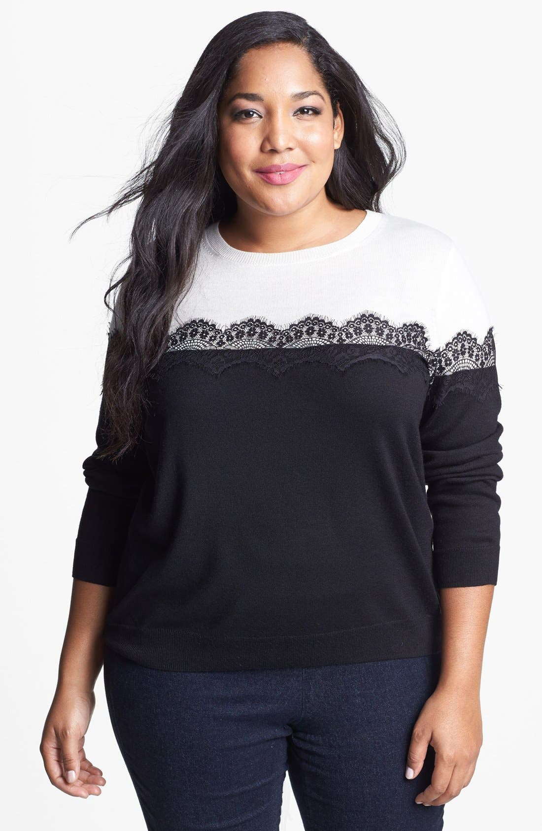 Alternate Image 1 Selected - Vince Camuto Lace Trim Sweater (Plus Size)