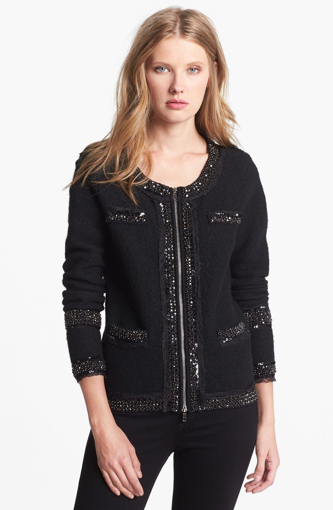 Main Image - Diane von Furstenberg Embellished Front Zip Wool Sweater