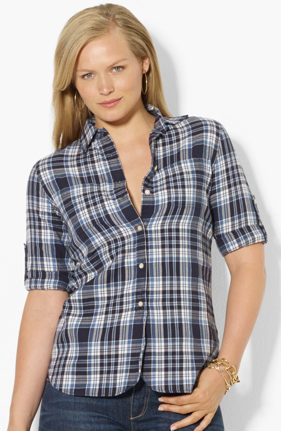 Main Image - Lauren Ralph Lauren Plaid Shirt (Plus Size)