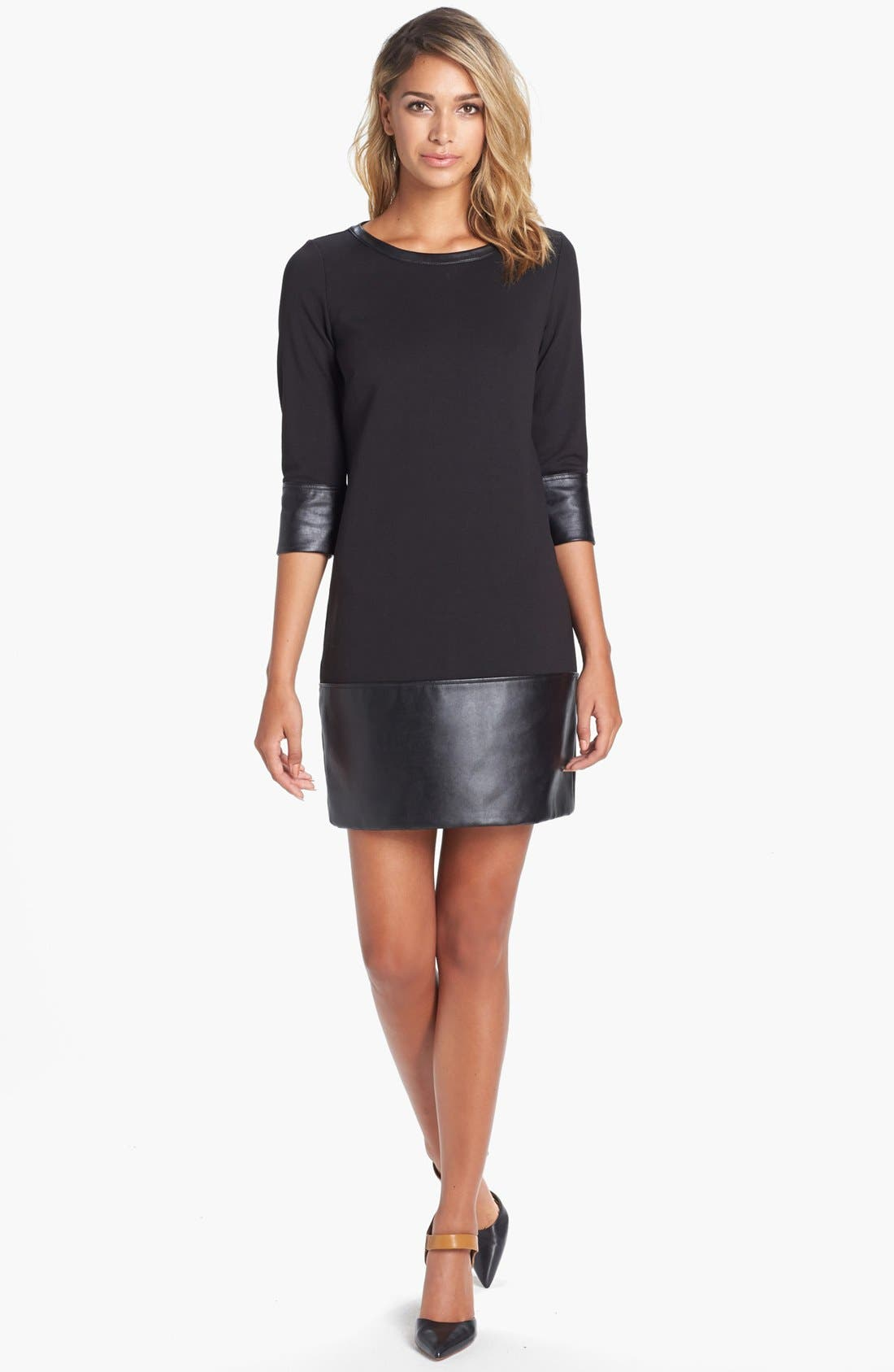 Main Image - Laundry by Shelli Segal Knit & Faux Leather Drop Waist Shift Dress