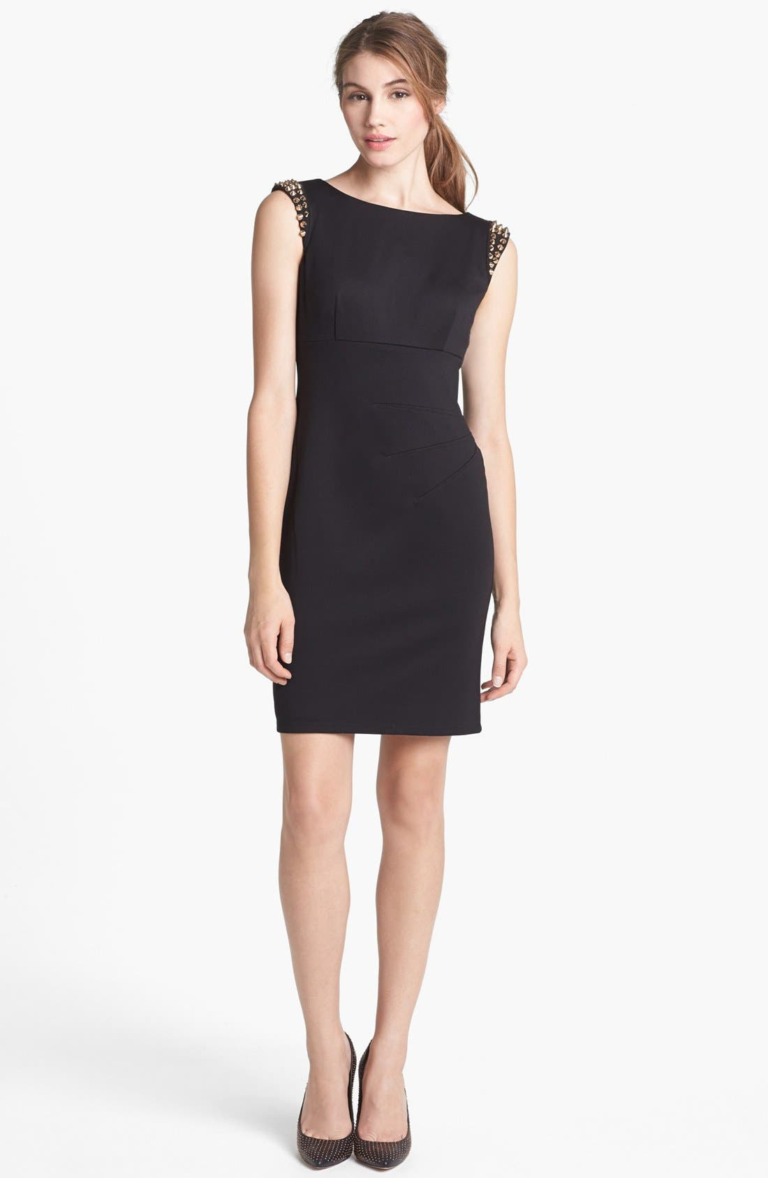 Main Image - Vince Camuto Spiked Shoulder Ponte Knit Sheath Dress