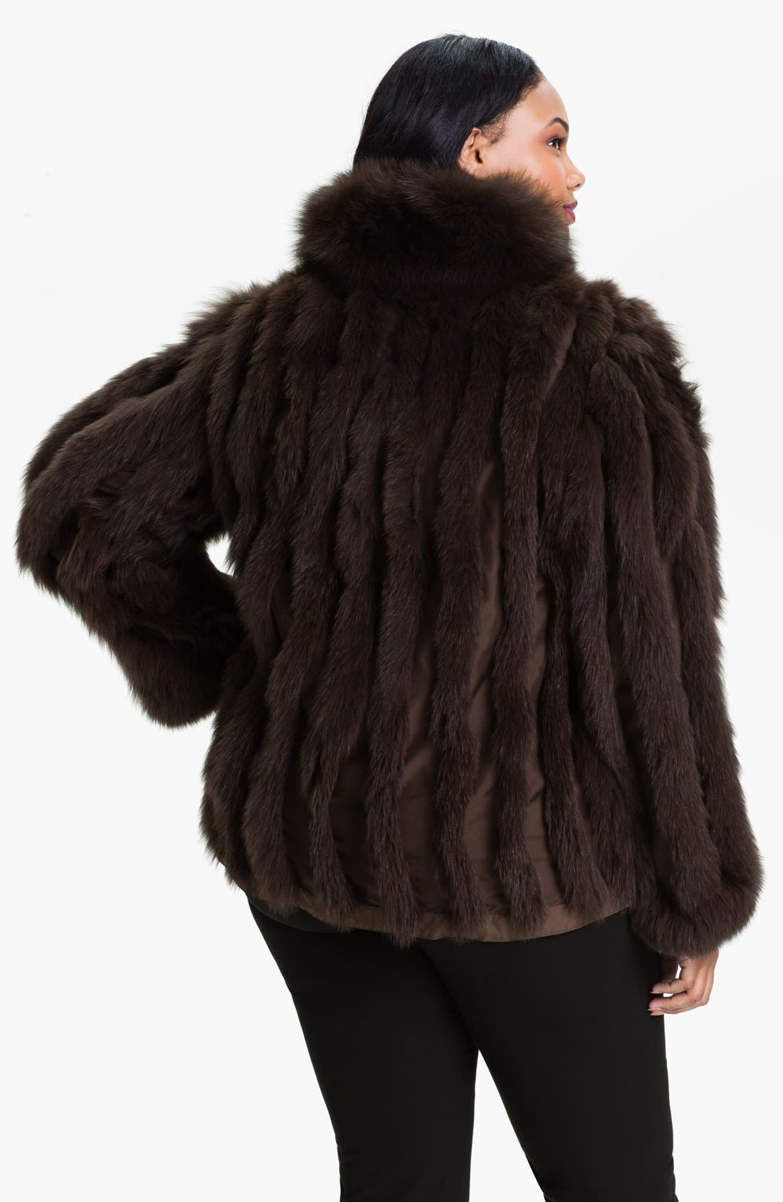 Alternate Image 3  - George Simonton Couture Reversible Silk & Genuine Fox Fur Jacket (Plus Size)
