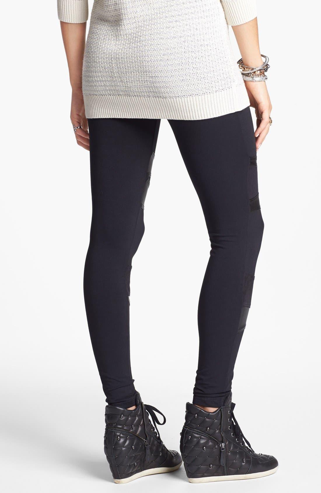 Alternate Image 2  - Rubbish® Faux Leather Inset Leggings (Juniors)