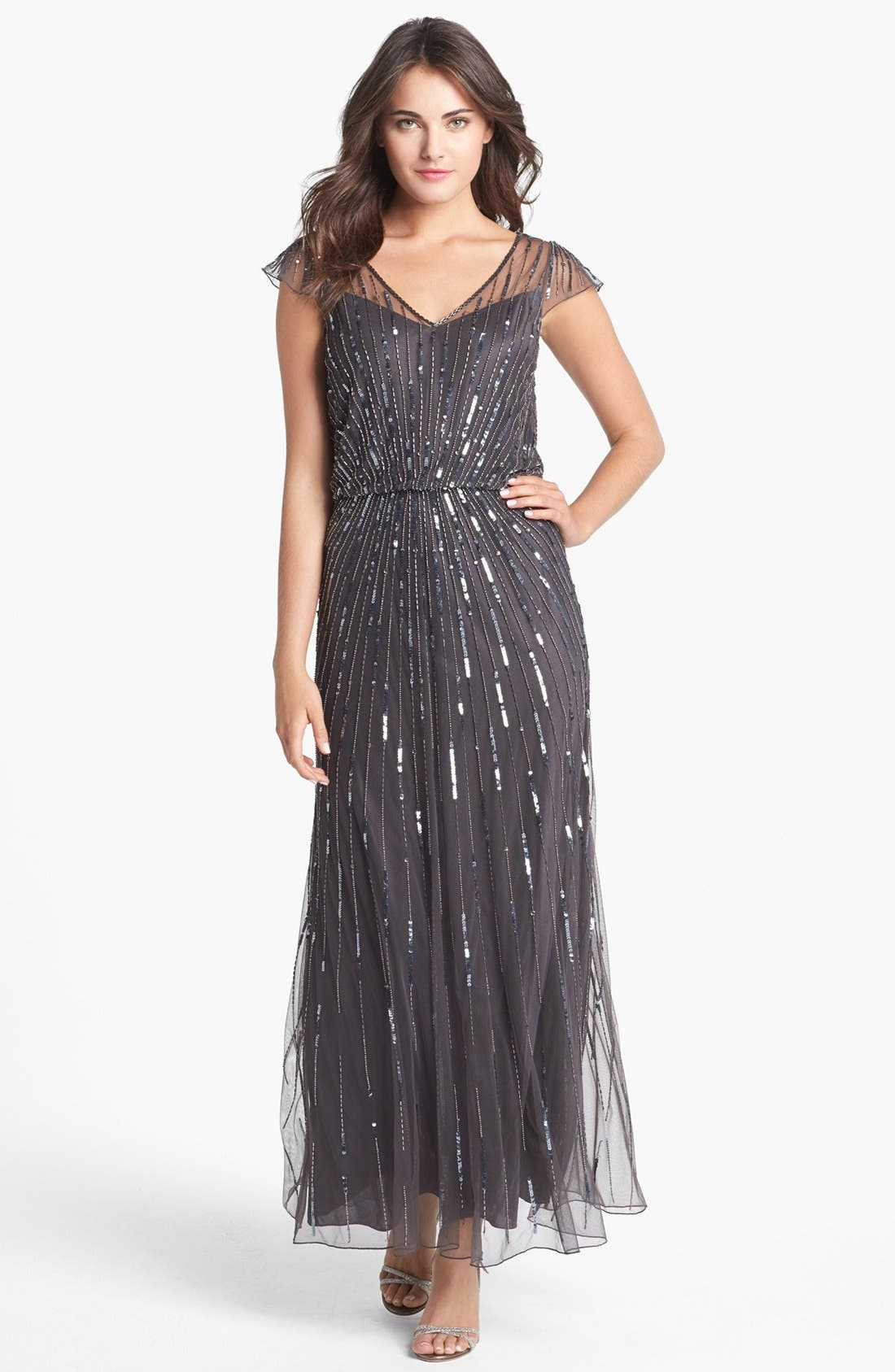 Main Image - J Kara Beaded Mesh Blouson Gown