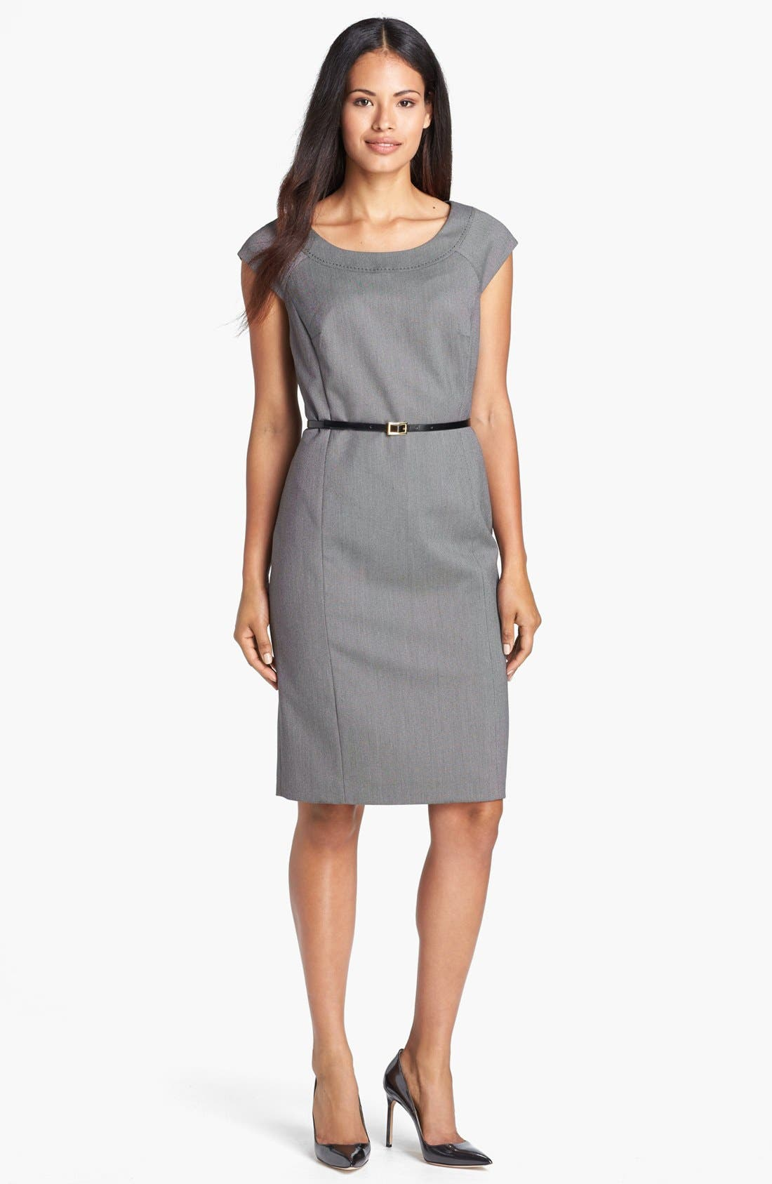 Alternate Image 1 Selected - Jones New York 'Brooke - Birdseye' Cap Sleeve Dress