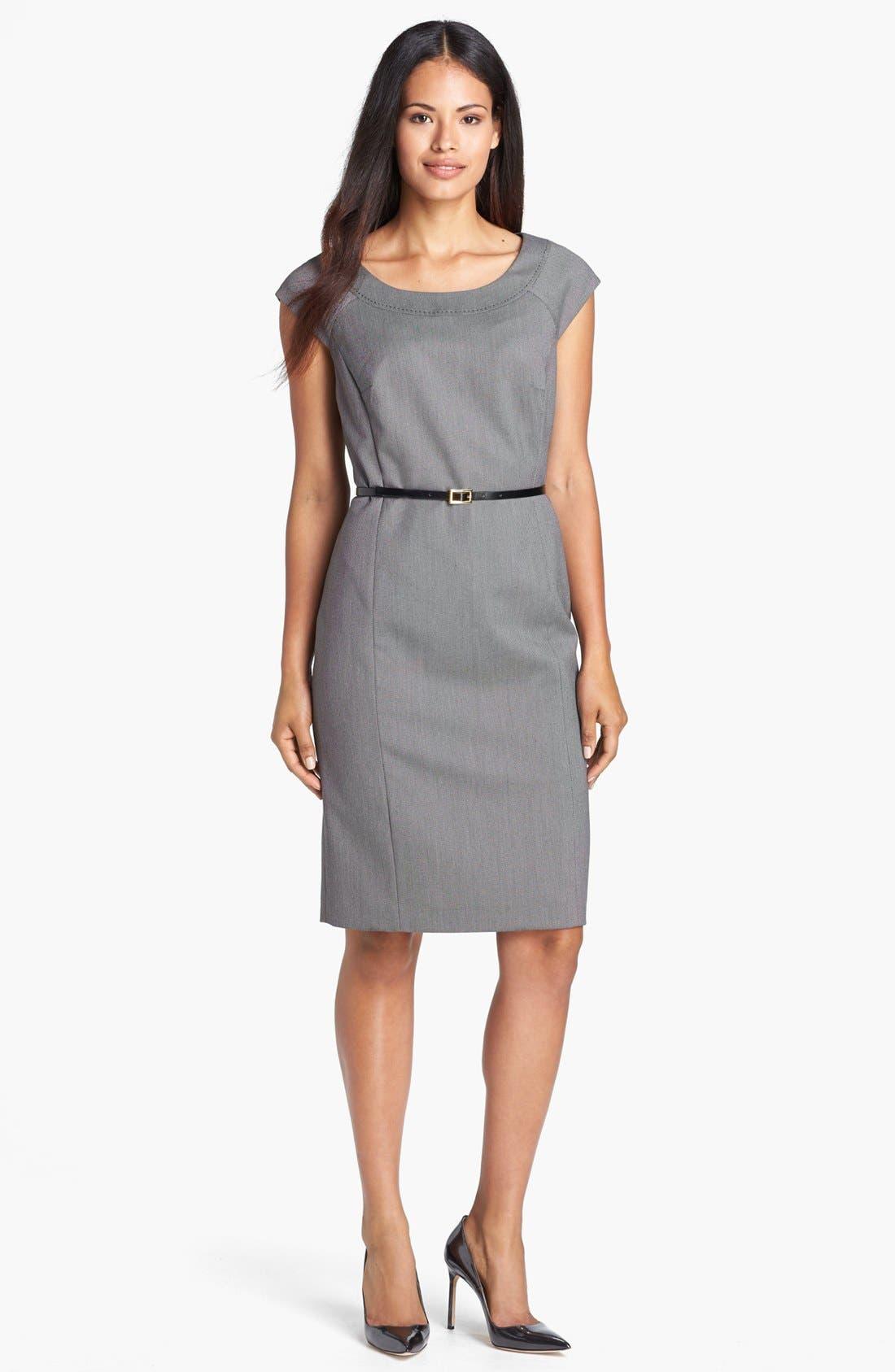 Main Image - Jones New York 'Brooke - Birdseye' Cap Sleeve Dress