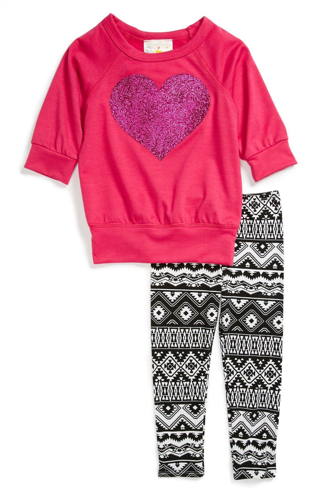 Alternate Image 1 Selected - Jenna & Jessie Glitter Tee & Leggings (Toddler Girls)