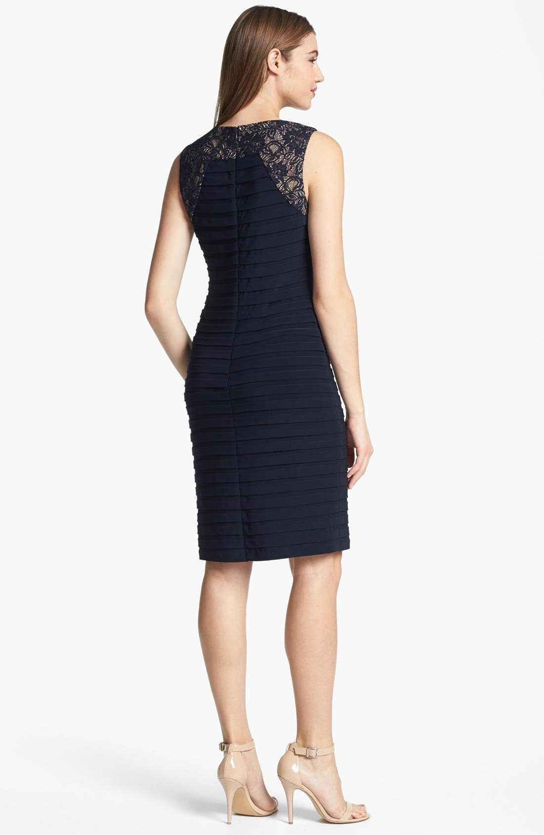 Alternate Image 2  - Adrianna Papell Lace Yoke Shutter Pleat Sheath Dress (Petite)