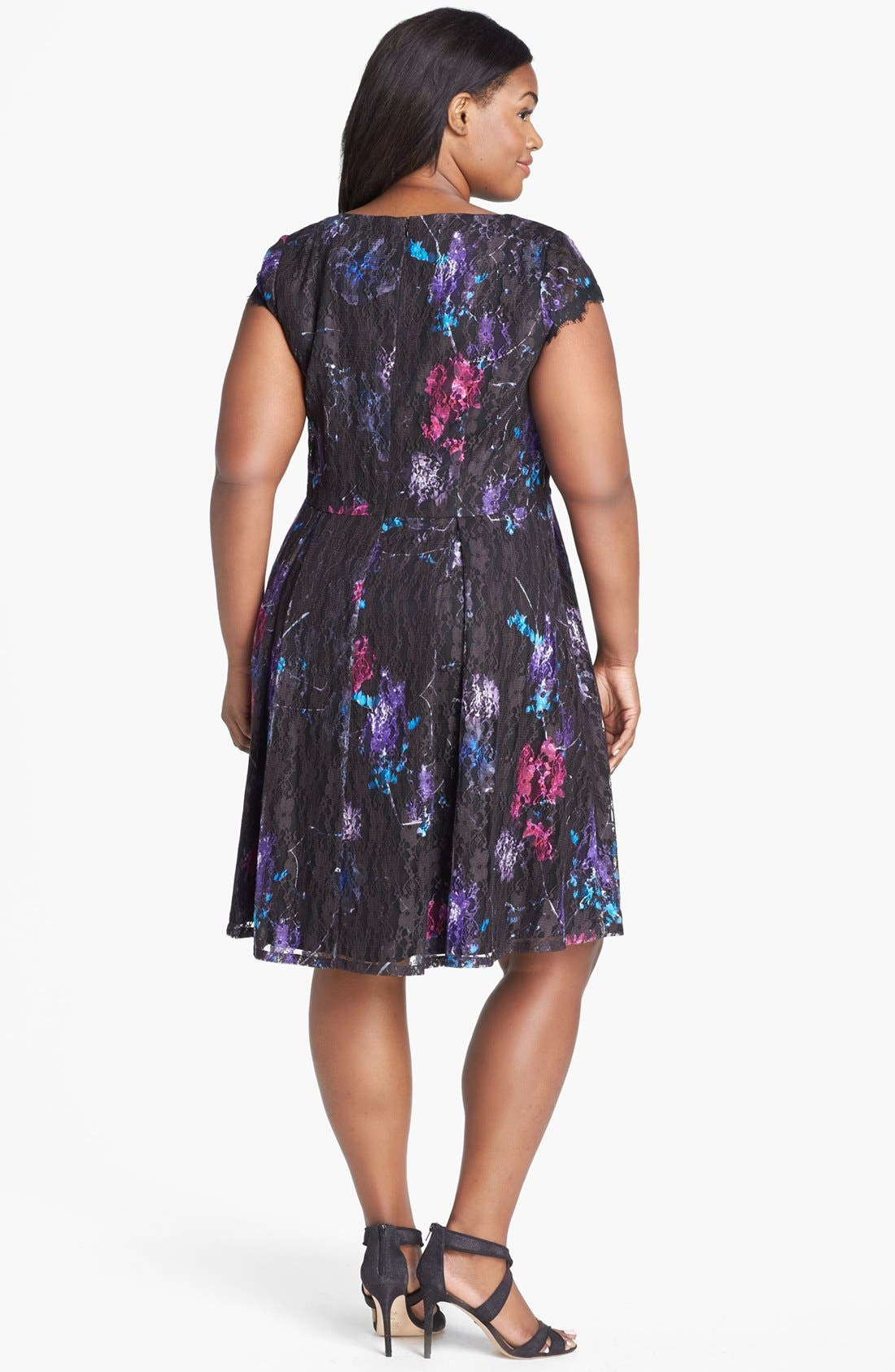 Alternate Image 2  - Ivy & Blu Print Lace Fit & Flare Dress