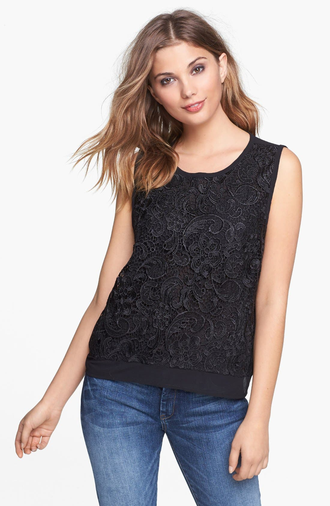 Alternate Image 1 Selected - ASTR Lace Chiffon Tank