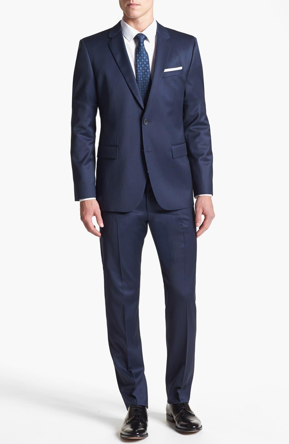 Alternate Image 1 Selected - HUGO 'Aeron/Hamen' Trim Fit Wool Blend Suit