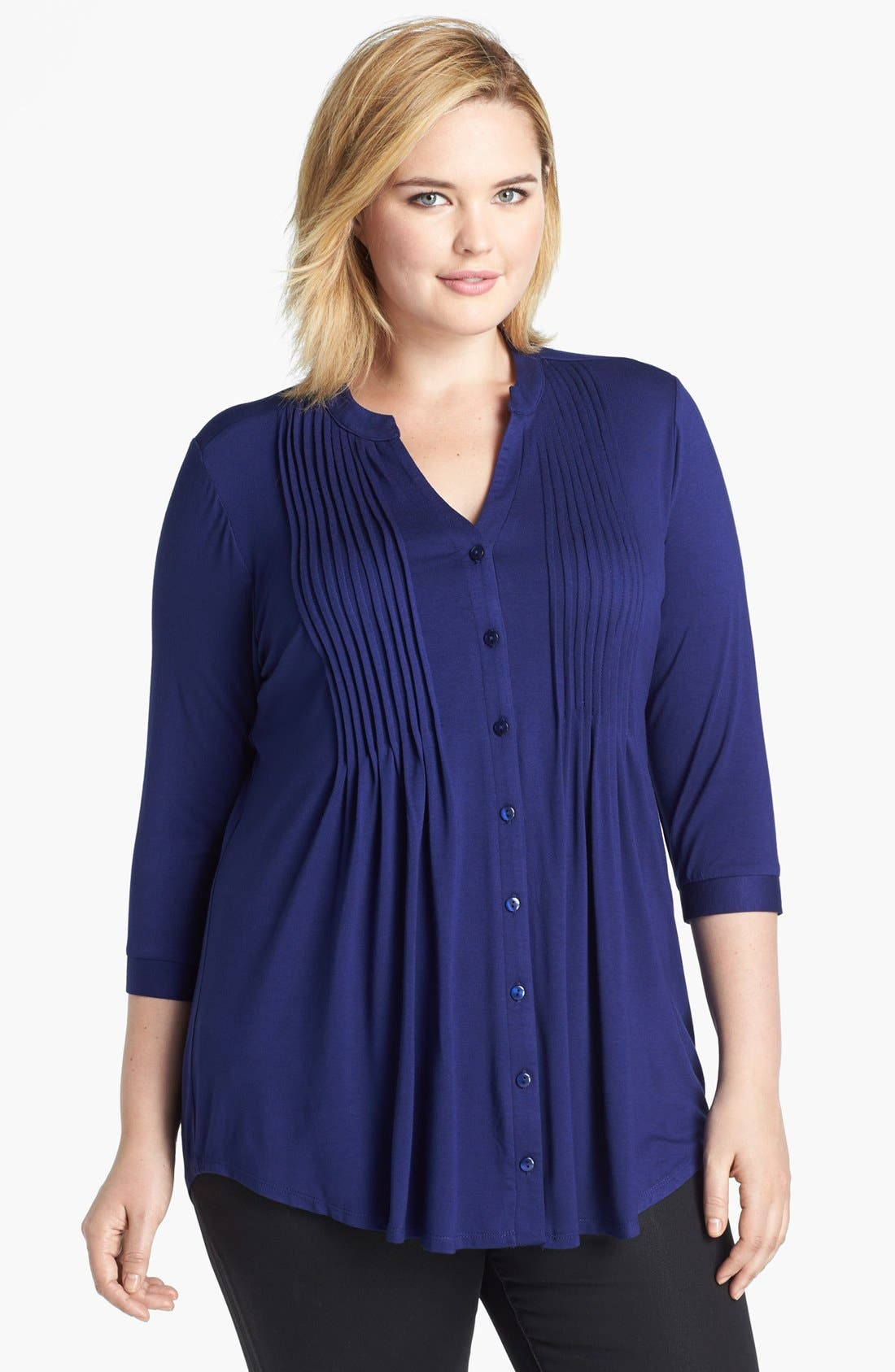 Alternate Image 1 Selected - Evans Pintucked Jersey Shirt (Plus Size)