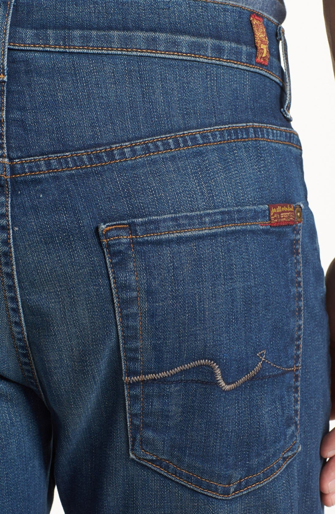 Alternate Image 4  - 7 For All Mankind® 'Carsen - Luxe Performance' Easy Straight Leg Jeans (Half Moon Blue)