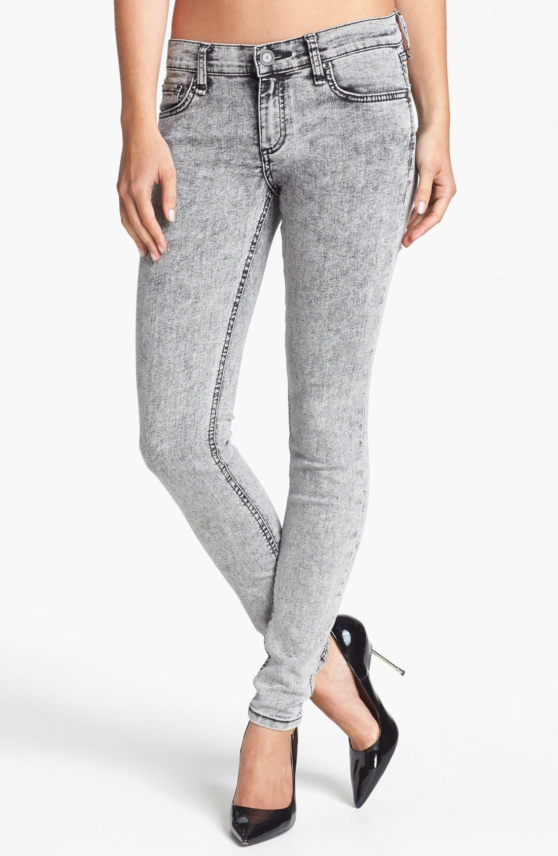 Main Image - edyson 'Sloan' Acid Wash Skinny Jeans (Grey Maven)
