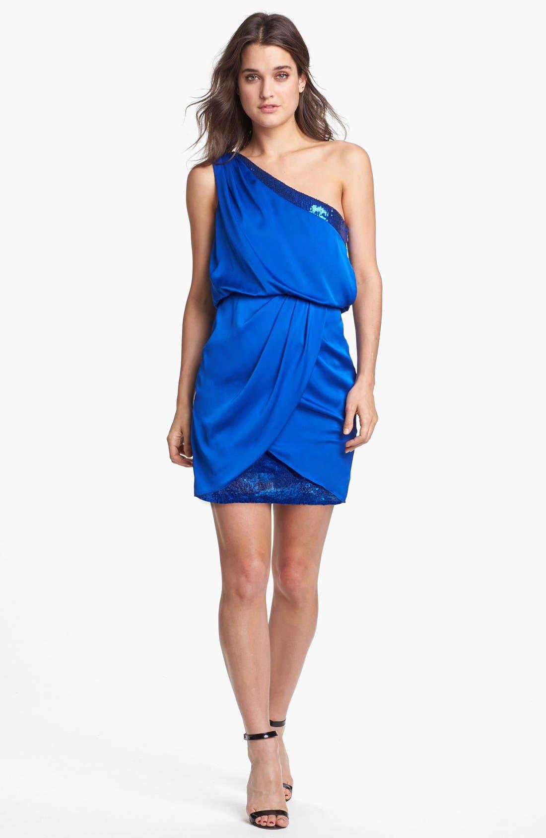 Main Image - Aidan by Aidan Mattox Embellished One-Shoulder Blouson Dress