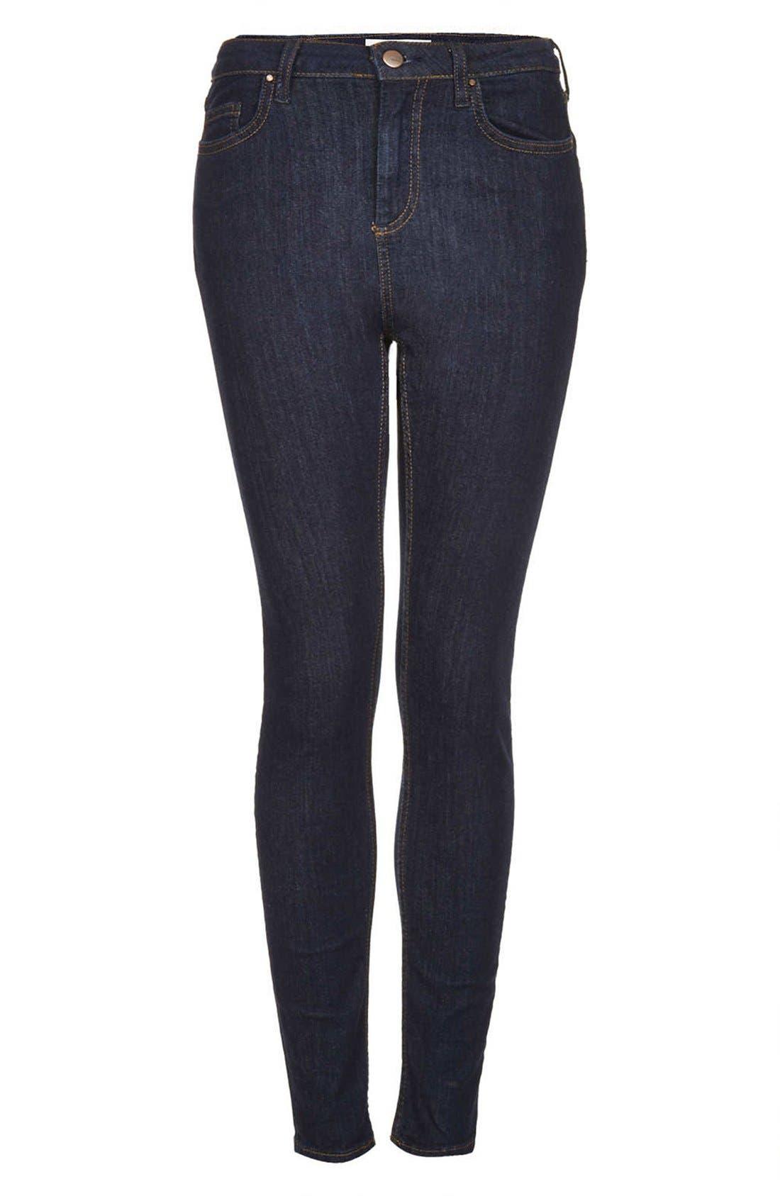 Alternate Image 3  - Topshop Moto 'Jamie' High Rise Skinny Jeans (Blue) (Regular, Short & Long)