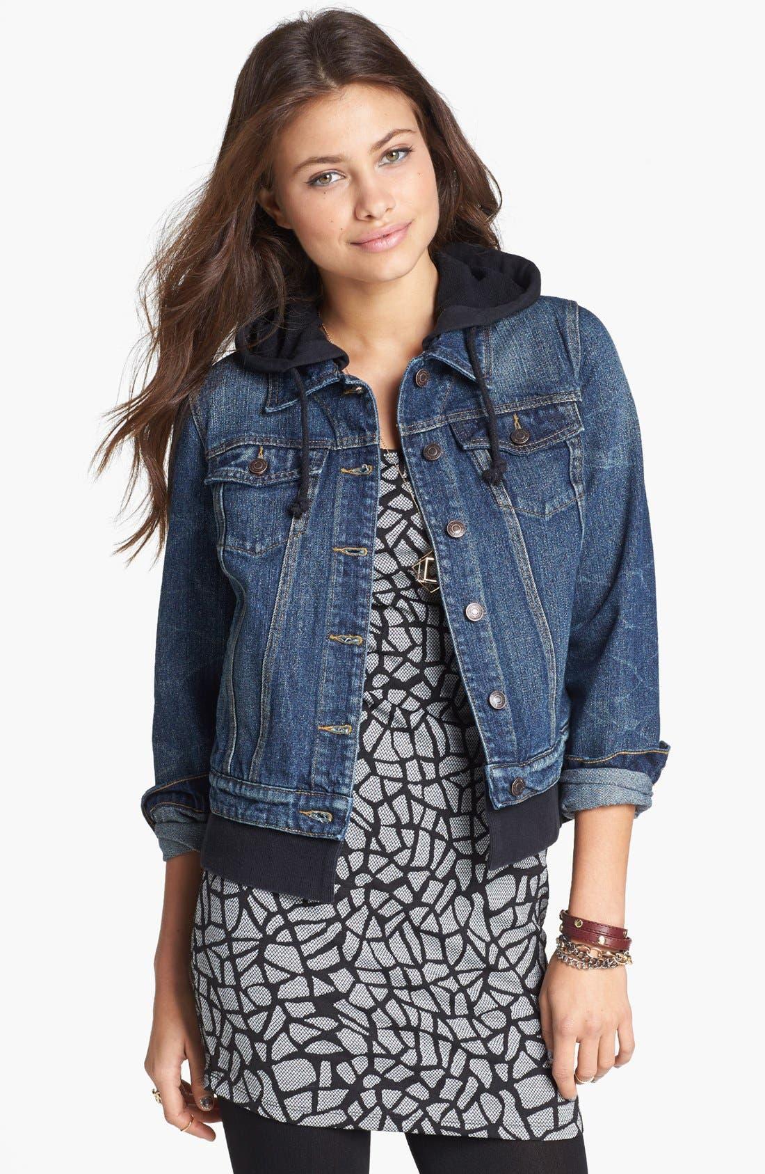 Alternate Image 1  - Thread & Supply Hooded Denim Jacket (Juniors)