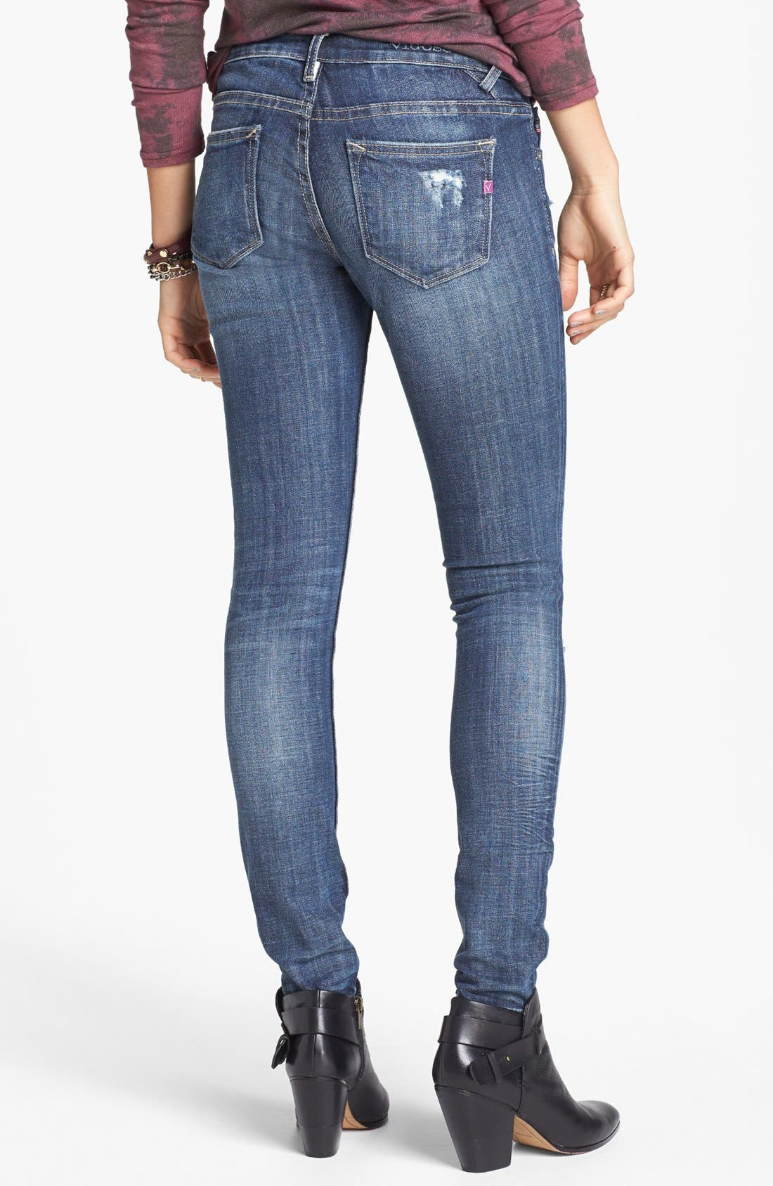 Alternate Image 2  - Vigoss Destroyed Skinny Jeans (Medium) (Juniors)
