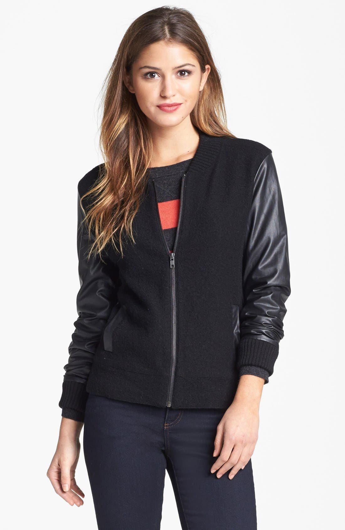 Alternate Image 3  - Halogen® Wool & Faux Leather Jacket (Regular & Petite)