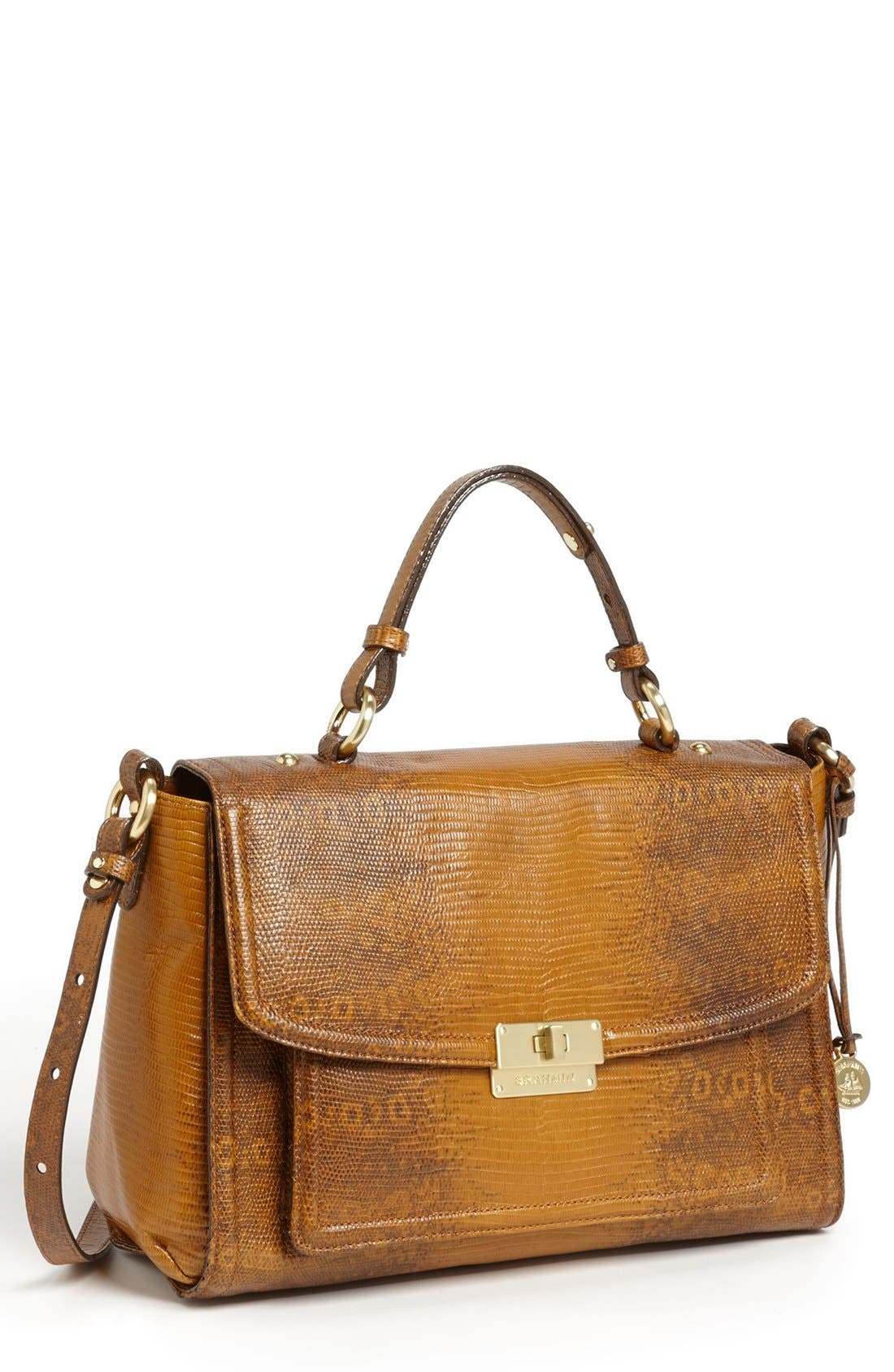 Main Image - Brahmin 'Oxford' Lizard Embossed Flap Satchel
