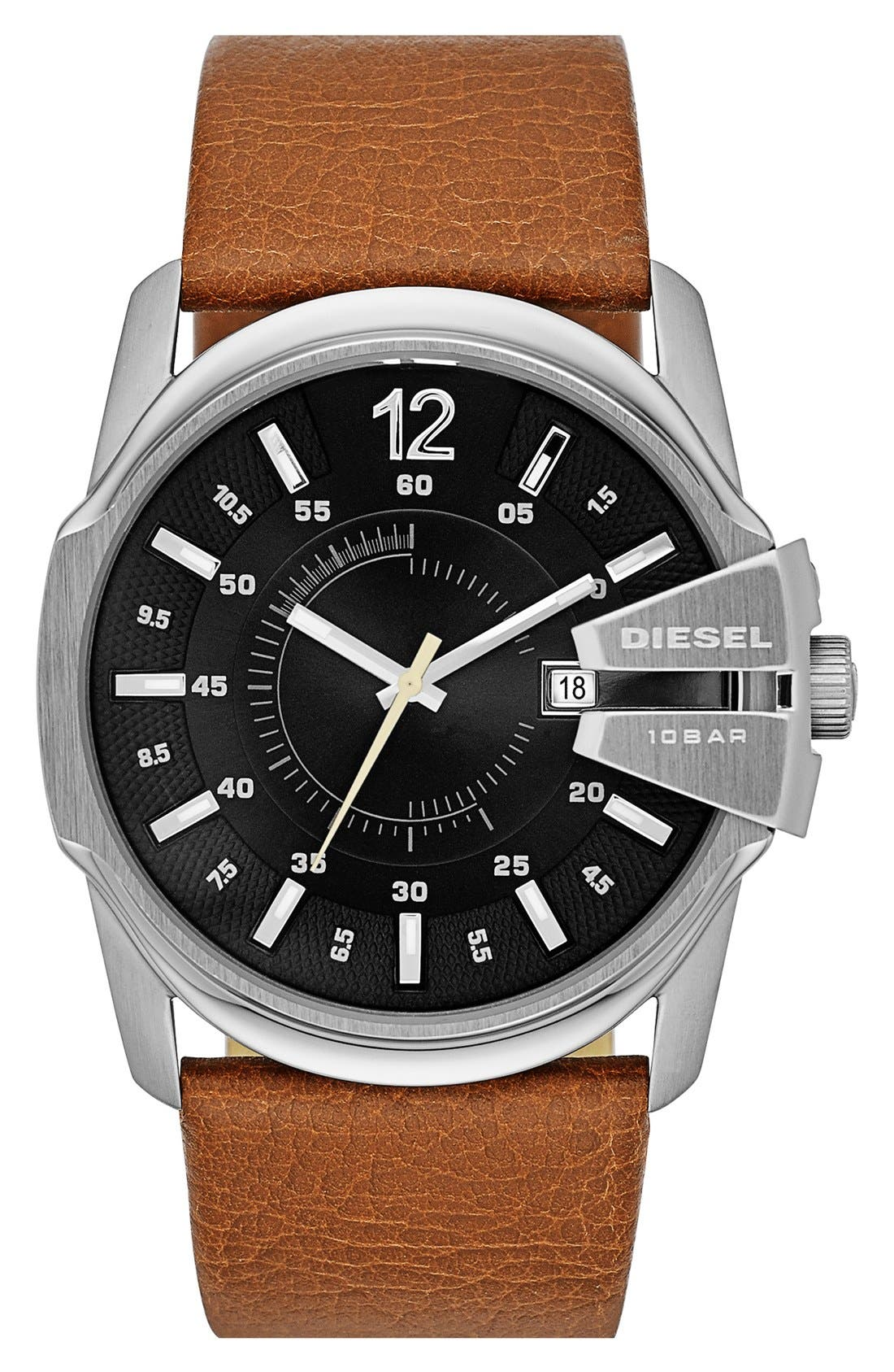 Main Image - DIESEL® 'Master Chief' Leather Strap Watch, 45mm x 51mm