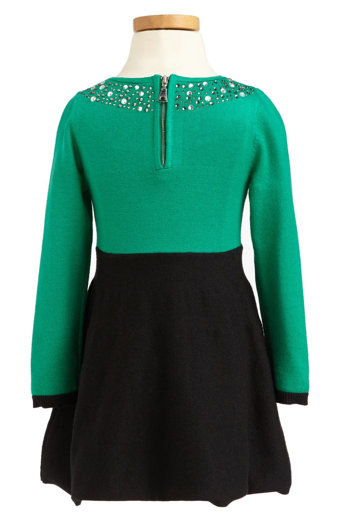 Alternate Image 2  - Milly Minis Rhinestone Collar Dress (Toddler Girls, Little Girls & Big Girls)