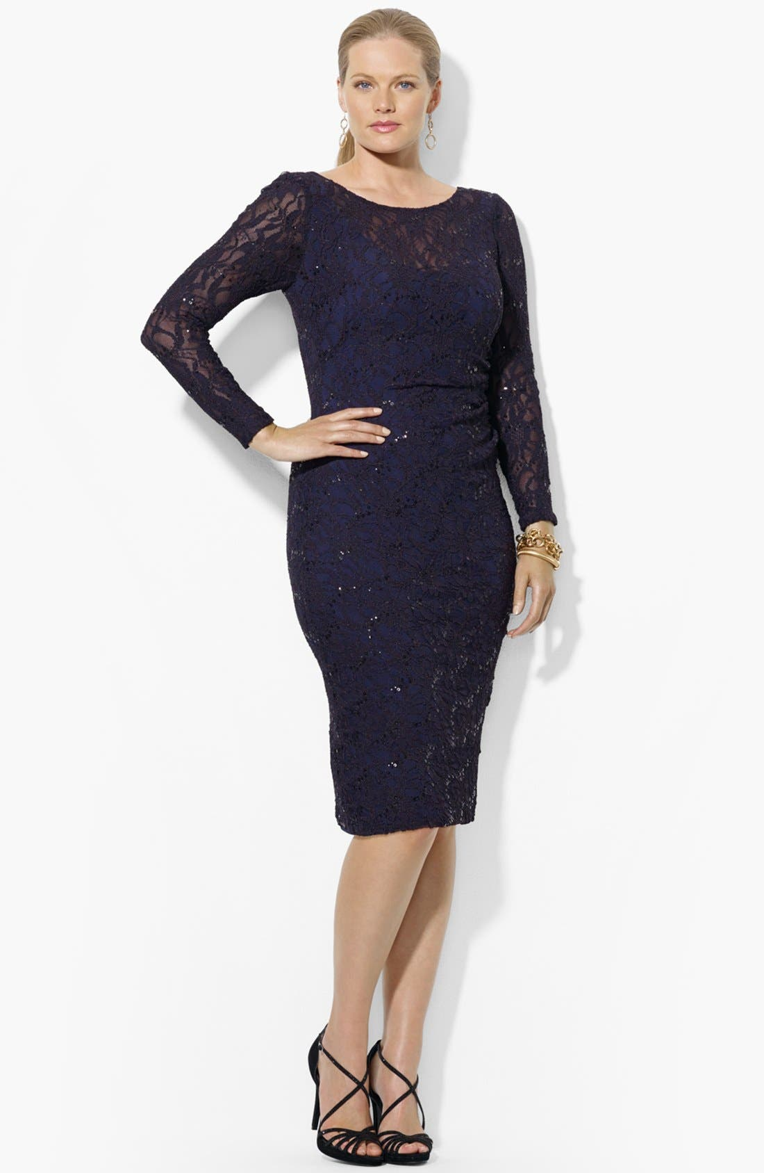 Alternate Image 1 Selected - Lauren Ralph Lauren Sequin Lace Sheath Dress (Plus Size)