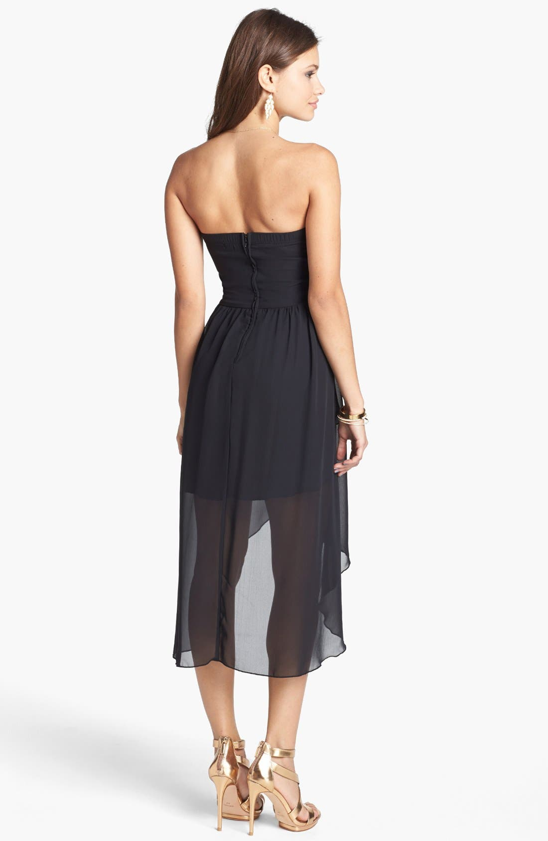 Alternate Image 2  - Trixxi Embellished High/Low Chiffon Dress (Juniors)