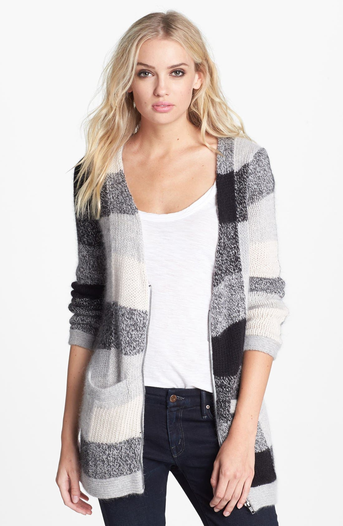Main Image - Splendid Front Zip Checkered Cardigan