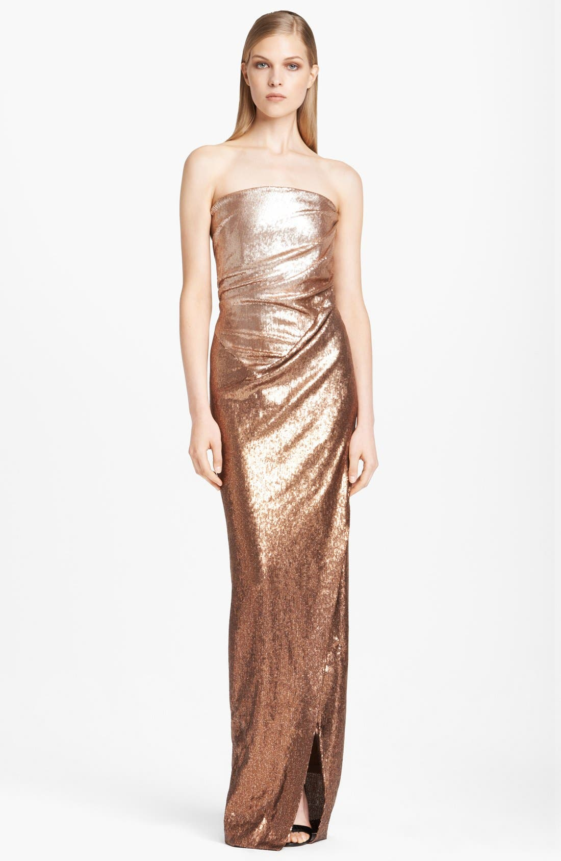 Main Image - Donna Karan Collection Strapless Ombré Sequin Gown